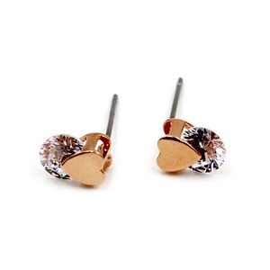Fashion little gold heart crystal earrings